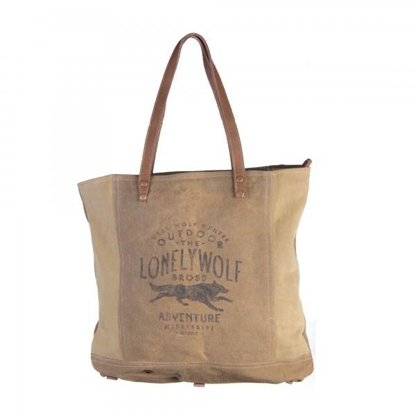 "Umhängetasche ""Lonelywolf"", oliv, B 49 cm, H 42 cm"