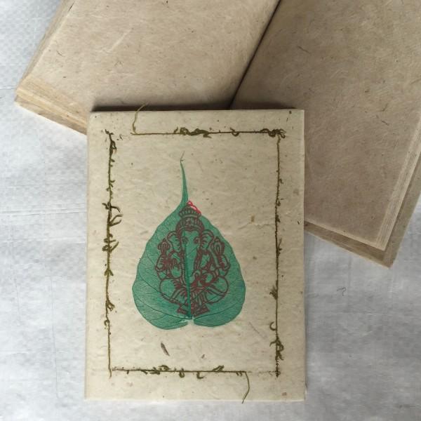 """Notizbuch """"Ganesha"""" aus handgeschöpftem Papier, 40 Seiten, weiß, B 11 cm, H 15 cm"""