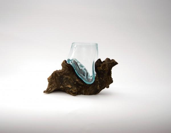 Wurzelholz-Glasvase, B ca. 20 cm, H ca. 13 cm