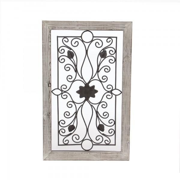 Wandbild Blume 'Ranke', weiß gekälkt, schwarz, T 3 cm, B 52 cm, H 83 cm