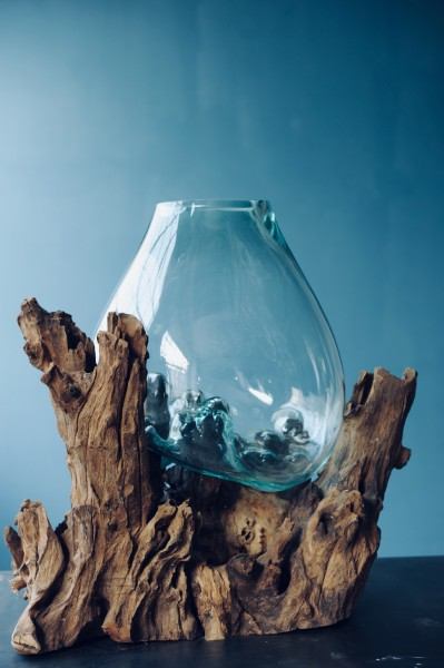 Wurzelholz-Glasvase, natur, T 13 - 20 cm, B 22 - 26 cm, H 20 - 22 cm