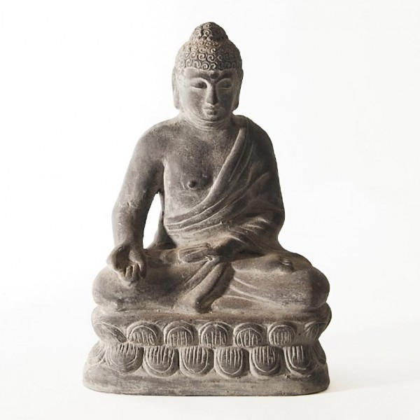 Sitzender Buddha aus Ton, grau, L 10 cm, B 15 cm, H 22 cm