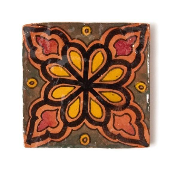 handglasierte Kachel 'fleur brune', grün/orange, L 10 cm, B 10 cm, H 1 cm