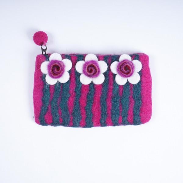 """Handgefilzte Geldbörse """"Blume"""", pink, B 17 cm, H 10 cm"""