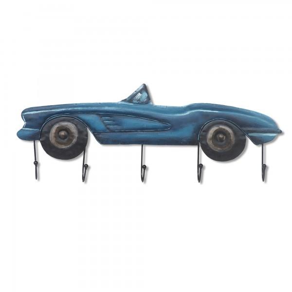 Wandkunst 'Sportscar' mit 5 Haken, blau, T 7 cm, B 60 cm, H 23 cm