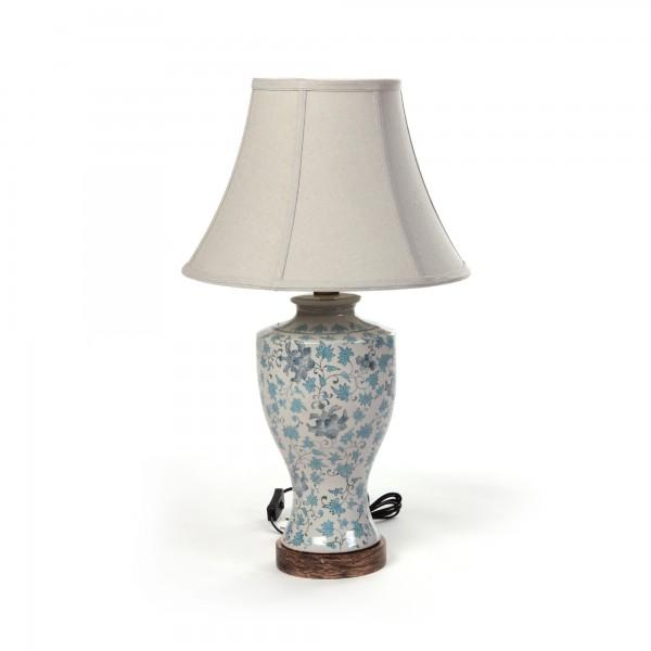 """Keramikleuchte """"Harbin"""", türkis/weiß, Schirm beige, H 66 cm"""