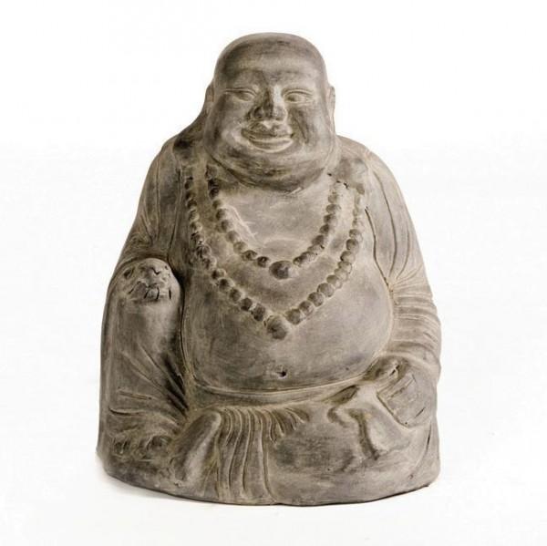 Lachender Buddha aus Ton, grau, L 31 cm, B 31 cm, H 41 cm