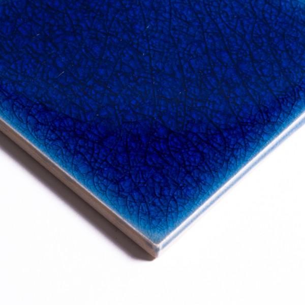 Fliese 'Craquele' dunkelblau, L 10 cm, B 10 cm