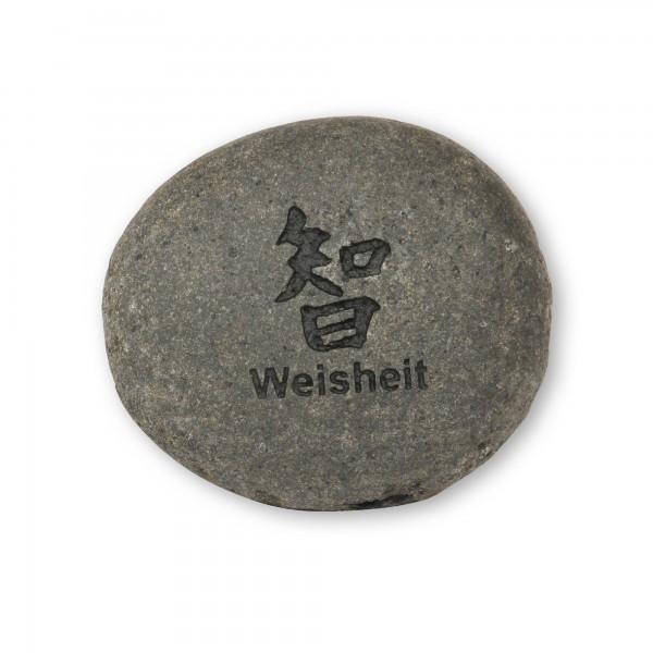 Flusskieselstein 'Weisheit', grau, T 7 cm, B 8 cm