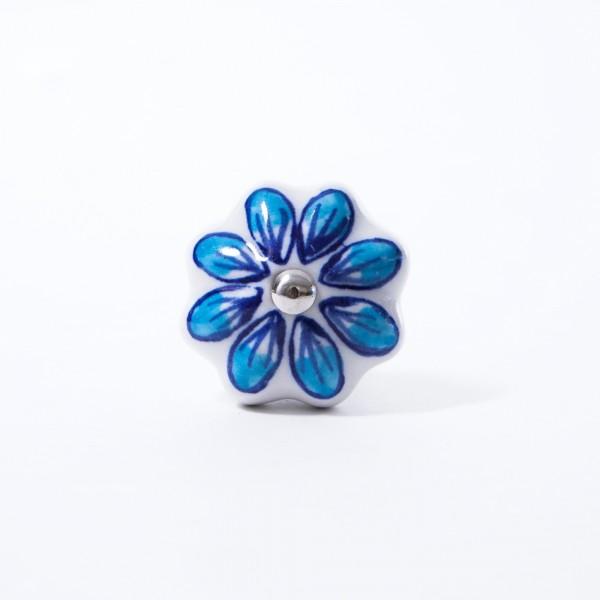 """Keramik Möbelknopf """"Blume"""", handglasiert, blau/weiß, Ø 4 cm"""