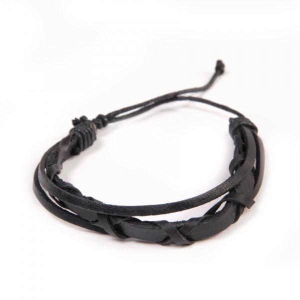 "Armband ""Liam"", aus Leder, schwarz"