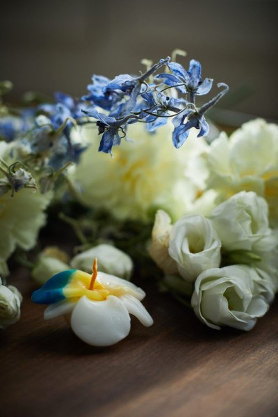 Schwimmkerze 'Orchidee', weiß, Ø 8 cm