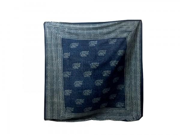 "Tagesdecke ""Haathee"", aus 100% Baumwolle, blau/weiß, L 210 cm, B 245 cm"