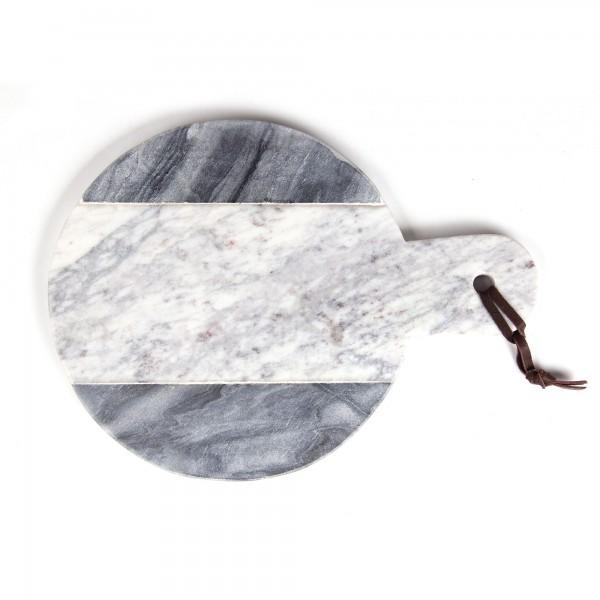Marmor-Schneidebrett, grau, weiß, T 21 cm, B 29 cm, H 1,4 cm