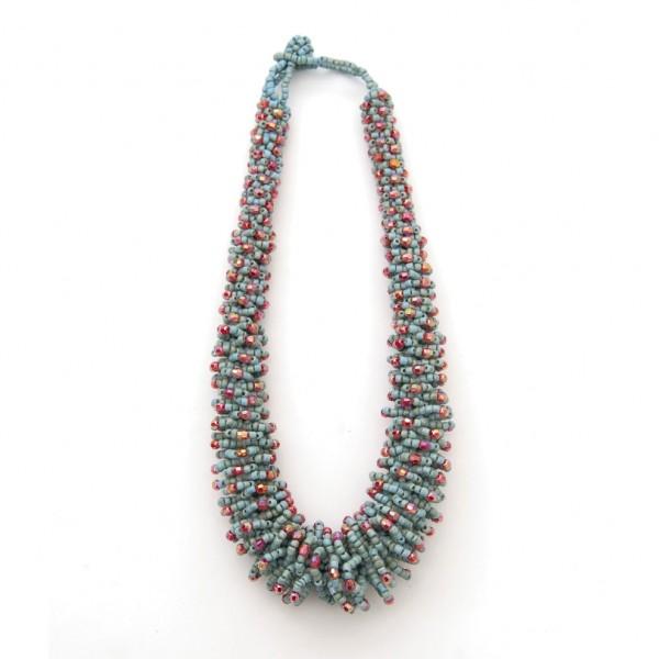 """Halskette """"Perlen"""", türkis/rot"""