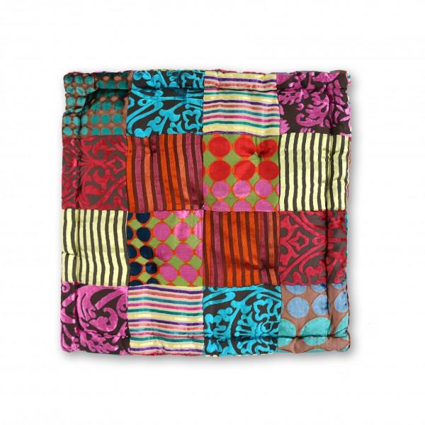 Sitzkissen Patchwork, multicolor, T 45 cm, B 45 cm, H 10 cm