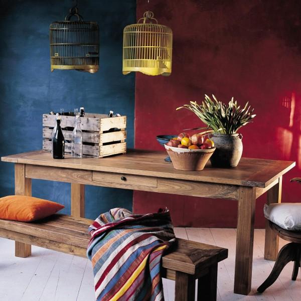 Holztisch aus recyceltem Teak mit durchgehender Schublade, natur, T 110 cm, B 300 cm, H 76 cm