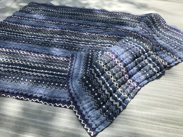 Quilt, violett, blau, T 220 cm, B 270 cm