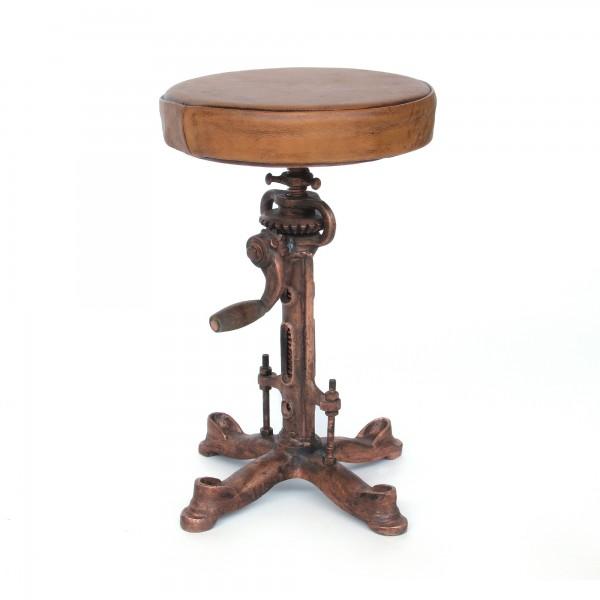 Barhocker 'Squire', cognacbraun, messing, Ø 36 cm, H 50-73 cm