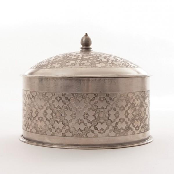 Metallschatulle rund, vernickelt, silber, H 16 cm, Ø 21 cm