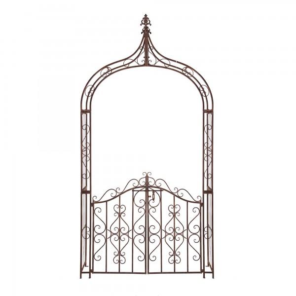 Rankbogen 'Benoit' mit Türen, vintage braun, T 45 cm, B 139 cm, H 274 cm