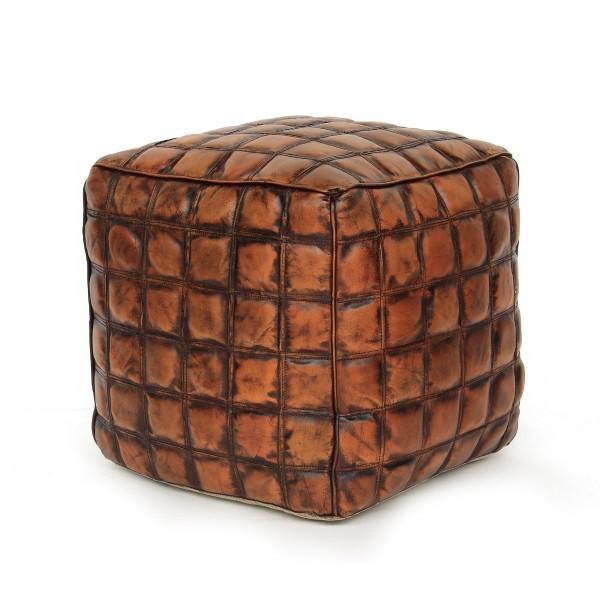 Sitzpouf 'Allan', cognac, T 45 cm, B 45 cm, H 45 cm