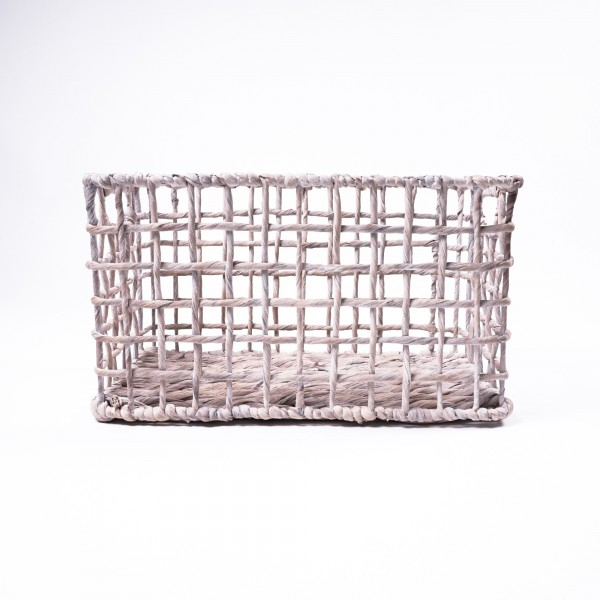 Korb aus Wasserhyazinthe, weiß, Größe M, L 30 cm, B 47 cm, H 26 cm