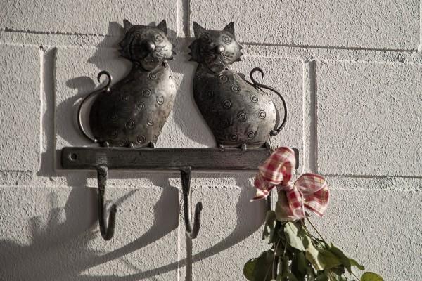 3er Wandhaken 'Katzen', grau, T 4 cm, B 23 cm, H 20 cm