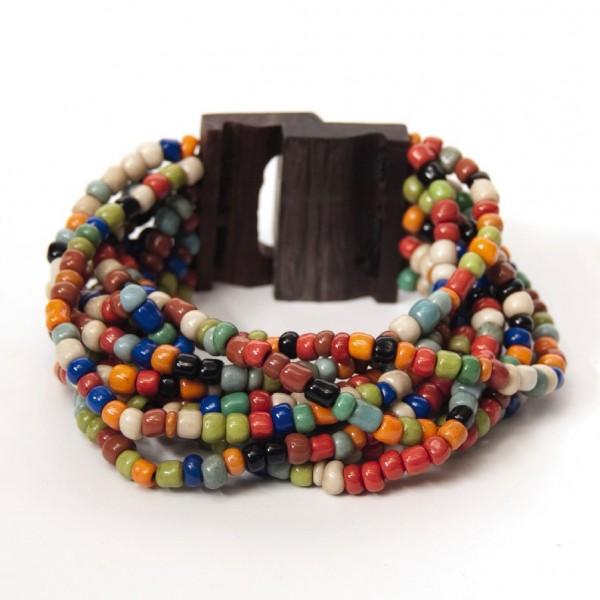 Armreif mit Holzverschluss, multicolor