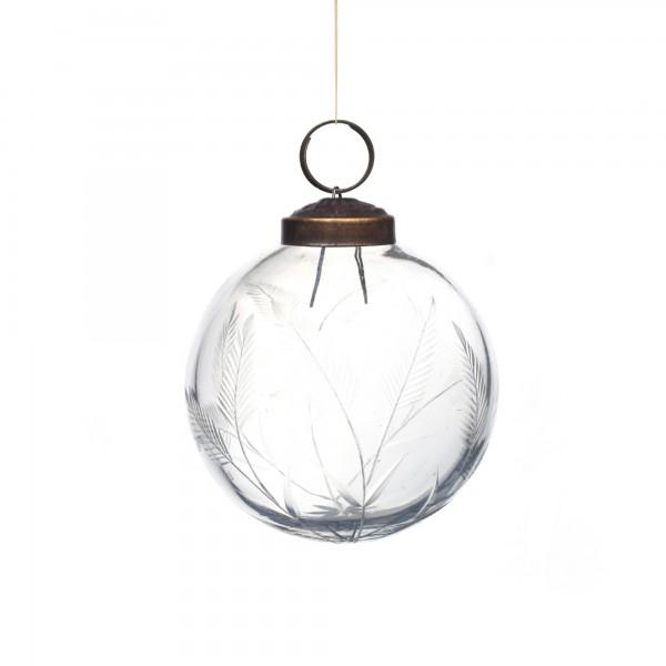 Anhänger Glaskugel Blätter, klar, Ø 8 cm, H 8 cm