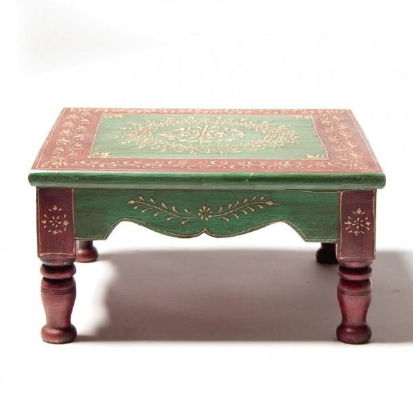 Teetisch mit Mehndi-Malerei, grün/bordeaux, L 40 cm, B 40 cm, H 22 cm