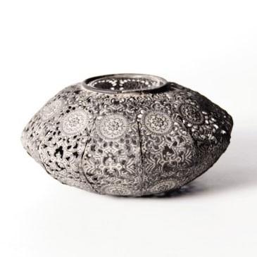 Laterne 'Darwin', groß, aus Metall, Ø 18 cm, H 8,5 cm