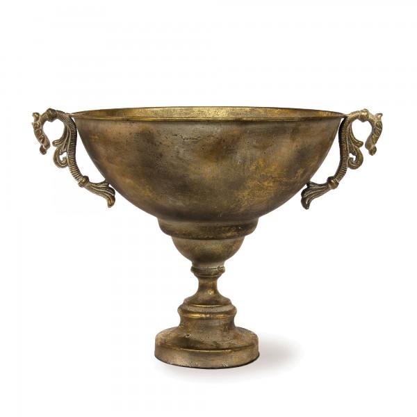 Pokal 'Parlise', messing-antik, T 48,5 cm, B 38,5 cm, H 36 cm