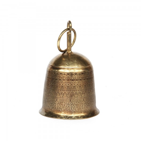 Glocke Eisen, antik messing-finish, Ø 8 cm, H 12 cm