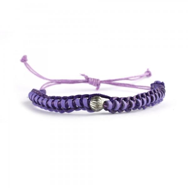 Armband geflochten, braun, lila, Ø 10 cm