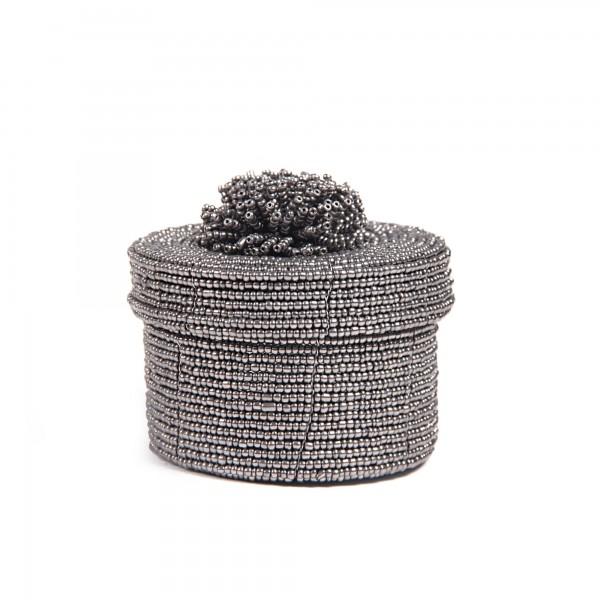 Deckelbehälter aus Glasperlen M, schwarz, weiß, T 10 cm, B 10 cm, H 10 cm