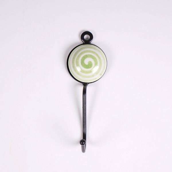 Wandhaken 1fach, grün/weiß, L 4,5 cm, B 4,5 cm, H 15 cm