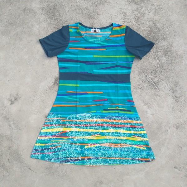 Kleid mit Kurzarm 'Colares' L, blaugrün, T 89 cm, B 48 cm