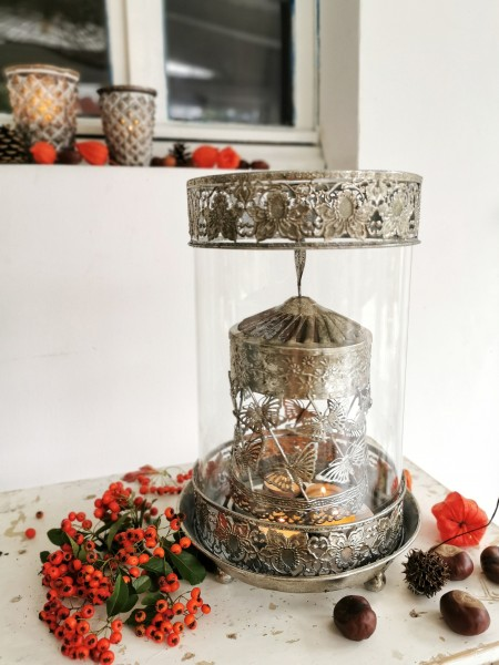 Tee-Licht-Karussell 'Paisley', grau, Ø 20 cm, H 33 cm