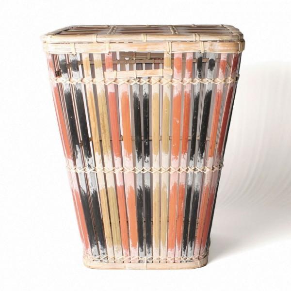 Wäschekorb aus Bambus mit Deckel S, natur/schwarz/rot, L 32 cm, B 32 cm, H 41 cm