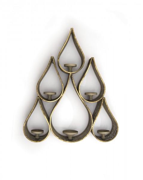 Kerzenwandhalter '6 Kerzen', kupfer, T 13,5 cm, B 62,5 cm, H 74 cm