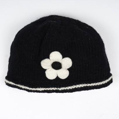 """Strickmütze """"Blume"""", schwarz"""