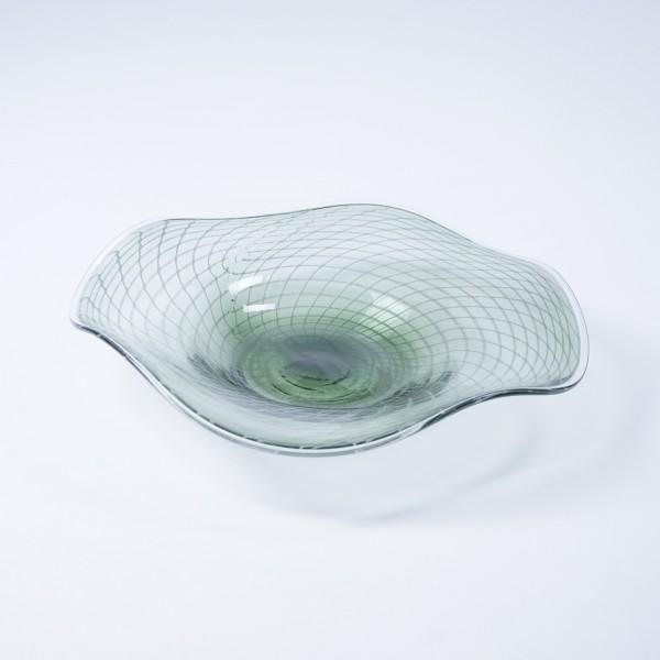 Glasschale, klar/grau, Ø 34 cm, H 8 cm