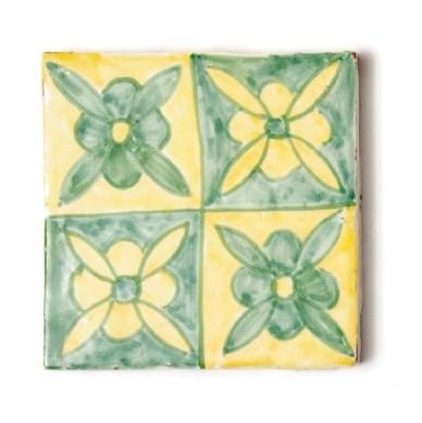 """Fliese """"fleur vertes"""", grün/gelb, L 10 cm, B 10 cm, H 1cm"""