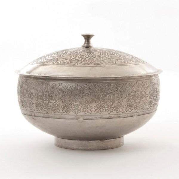 Metallschatulle rund, vernickelt, silber, H 15 cm, Ø 20 cm