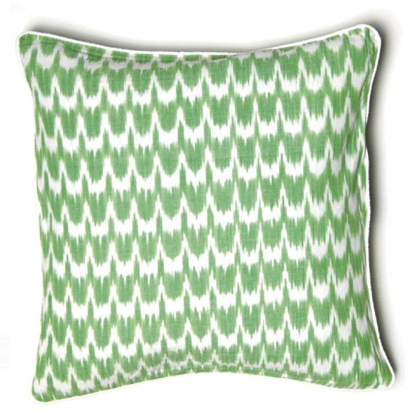 "Kissenhülle ""Ikkat"", grün/weiß, L 45 cm, B 45 cm"