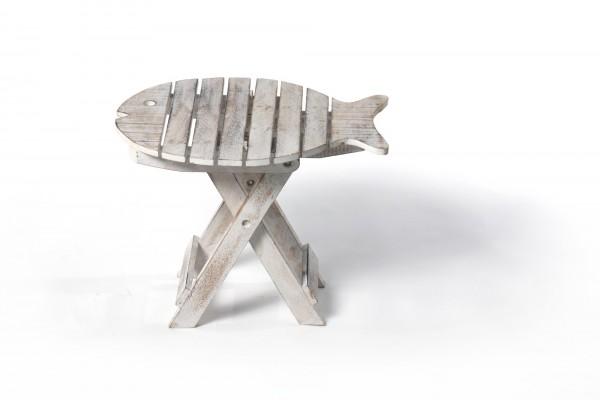 Beistelltisch 'Fisch', klappbar, weiß, L 31 cm, B 41 cm, H 32 cm