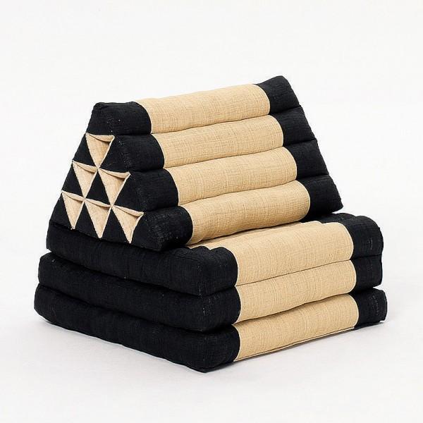 Triangelkissen mit Kapok-Füllung, schwarz/beige, L 200 cm, B 60 cm