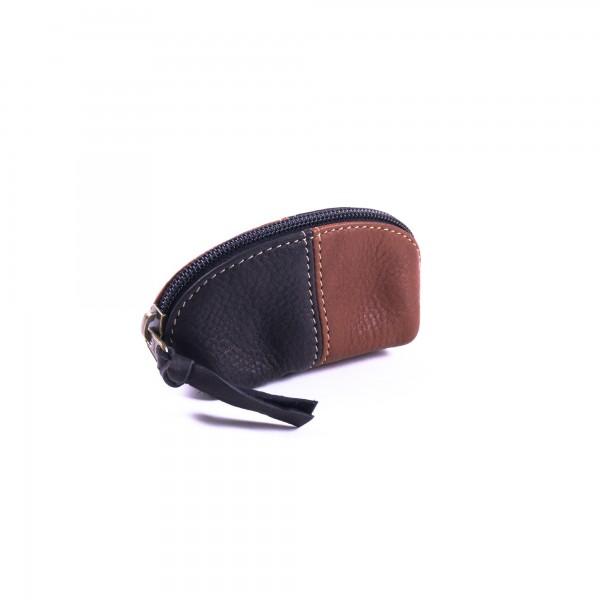 Geldbörse aus 100% Kuhleder, schwarz/braun, B 13 cm, H 8 cm
