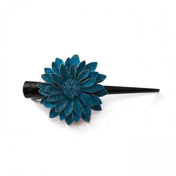 """Haarklammer """"Blume"""", aus Leder, blau"""